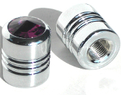 Chrome Valve Stem Caps w/ Purple Swarovski Crystals - Set of 2