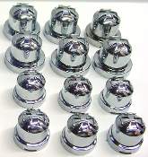 "Chrome Iron Cross 9/16"" Bolt & Nut Caps - Set of 12"