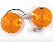 Low Profile Amber Lenses w/ 1156 Amber LED Bulbs - Set of 2