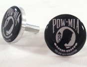 Polished Billet License Frame Bolts - POW*MIA - Set of 2