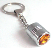 Chrome Key Chain - Swarovski Crystal - Amber
