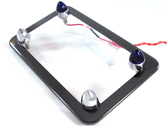 Black Chrome License Frame w/ Short Spike & Blue LED Bolts