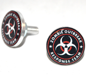 Polished Billet License Frame Bolts - Zombie Outbreak - R/W
