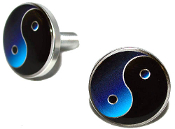 Polished Billet License Frame Bolts - Yin Yang - Set of 2