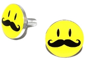 Polished Billet License Frame Bolts - Smiley 'Stache - Set of 2