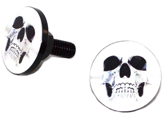 Black Billet License Frame Bolts - Ghost Skull - 2