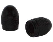Knurled Bullet Valve Stem Caps - Black - Set of 2