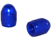 Knurled Bullet Valve Stem Caps - Blue - Set of 2
