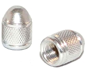 Knurled Bullet Valve Stem Caps - Silver - Set of 2