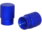 Knurled Flat Top Valve Stem Caps - Blue - Set of 2