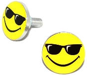 Polished Billet License Frame Bolts - Smiley Shades - Set of 2
