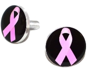 Polished Billet License Frame Bolts - Pink Ribbon Blk - Set of 2