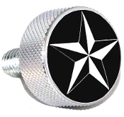 Harley Twin Cam Air Cleaner Bolt - Chrome Billet Star - Black