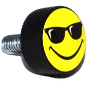 Harley Twin Cam Air Cleaner Bolt - Black Billet Smiley Shades
