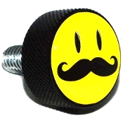 Harley Twin Cam Air Cleaner Bolt - Black Billet Smiley 'Stache