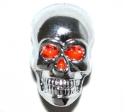 Harley Custom Seat Bolt - Chrome Skull w/ Red Eyes