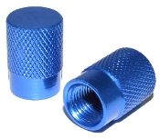 Knurled Flat Top Valve Stem Caps - Lt Blue - Set of 2