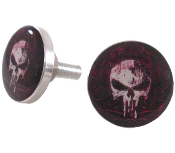 Polished Billet License Frame Bolts - Punisher Skull - Set of 2