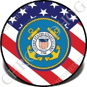 Knurled Valve Stem Caps - Coast Guard US Flag - 2