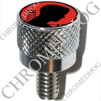 Harley Custom Seat Bolt - S KN Chrome Billet POW*MIA Logo - Red