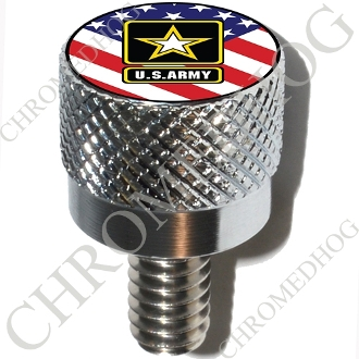 Harley Custom Seat Bolt - S KN Chrome Billet Army Logo - US Flag