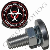Sm Silver Billet License Plate Bolts - Zombie Outbreak - R/W