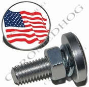 Sm Silver Billet License Plate Bolts - Flag - American