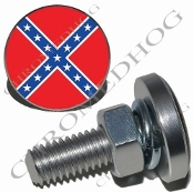 Sm Silver Billet License Plate Bolts - Flag - Rebel