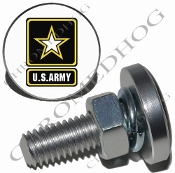 Sm Silver Billet License Plate Bolts - Army Logo - White