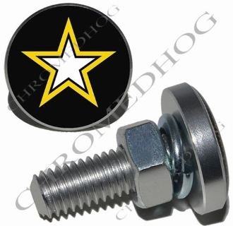 Sm Silver Billet License Plate Bolts - Army Star