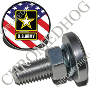 Sm Silver Billet License Plate Bolts - Army Logo - US Flag