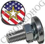 Sm Silver Billet License Plate Bolts - Army Star - US Flag