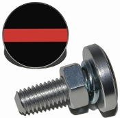 Sm Silver Billet License Plate Bolts - Red Line