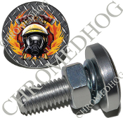 Sm Silver Billet License Plate Bolts - Fire Fighter - DP