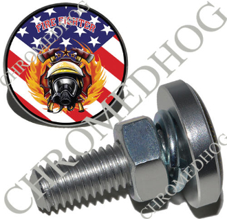 Sm Silver Billet License Plate Bolts - Fire Fighter - US Flag
