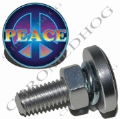 Sm Silver Billet License Plate Bolts - Peace