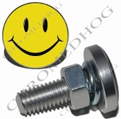 Sm Silver Billet License Plate Bolts - Smiley Face