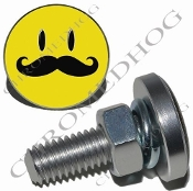 Sm Silver Billet License Plate Bolts - Smiley 'Stache