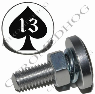 Sm Silver Billet License Plate Bolts - Spade 13 - Black/White