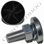 Sm Silver Billet License Plate Bolts - Star - Gray/Black