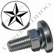 Sm Silver Billet License Plate Bolts - Star - Black/White