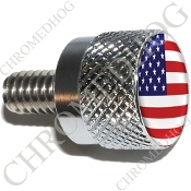Twin Cam Air Cleaner Bolt - S KN Chrome Billet Flag - USA