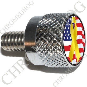 Twin Cam Air Cleaner Bolt - S KN Chrome Billet Ribbon - Y/Flag