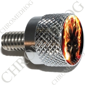 Twin Cam Air Cleaner Bolt - S KN Chrome Billet Flaming Skull