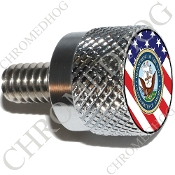 Twin Cam Air Cleaner Bolt - S KN Chrome Billet Navy - US Flag