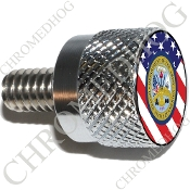 Twin Cam Air Cleaner Bolt - S KN Chrome Billet Army Dept - Flag