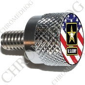 Twin Cam Air Cleaner Bolt - S KN Chrome Billet Army Logo - Flag
