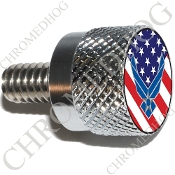 Twin Cam Air Cleaner Bolt - S KN Chrome Billet USAF - US Flag