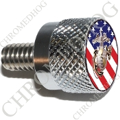 Twin Cam Air Cleaner Bolt - S KN Chrome Billet USMC - US Flag