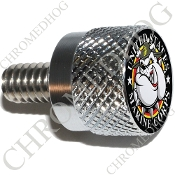 Twin Cam Air Cleaner Bolt - S KN Chrome Billet USMC Devil Dog Bk